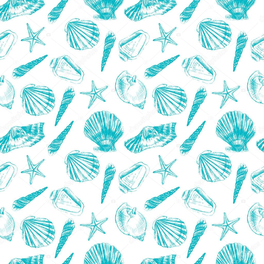 Seashell hand drawn vector graphic etching sketch isolated on white background, seamless pattern, underwater artistic marine blue texture, design for greeting card, decorative textile, water fabric