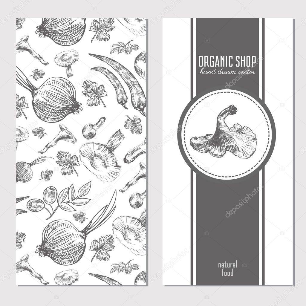 Vector cards, banners with hand drawn sketch vegetables, mushroo