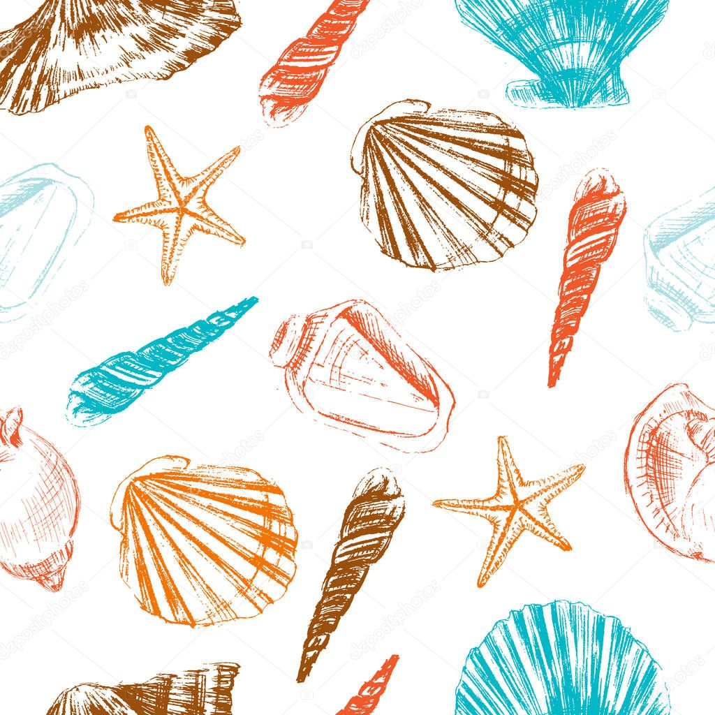 Seashells hand drawn vector colorful etching sketch isolated on white background, seamless pattern, underwater artistic marine blue texture, design for greeting card, decorative textiles, water fabric