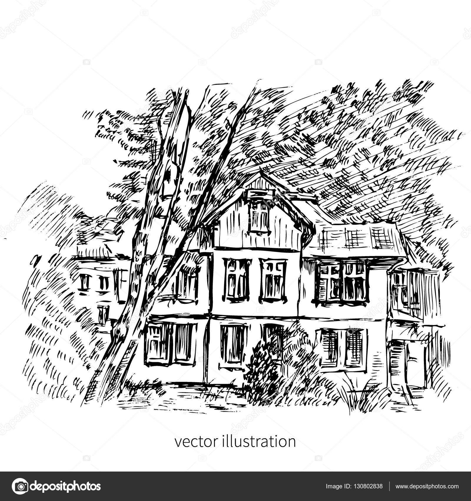 Vintage Tile Old European House Vector Graphic Illustration Engraving Outline Sketch Mansion Rural
