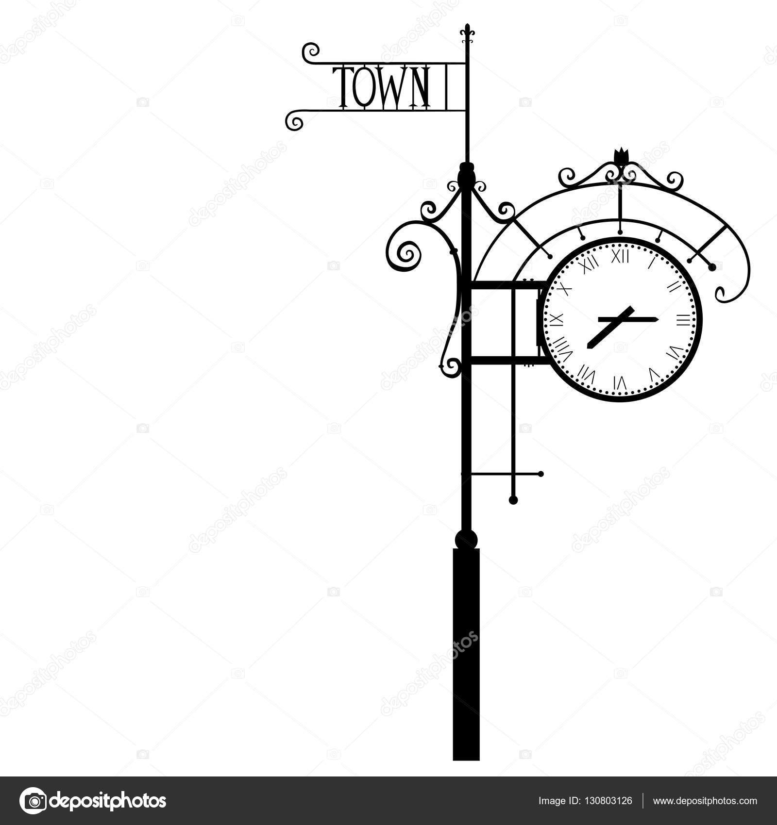 Calle reloj numeral vintage, Ilustración de vectores aislado sobre ...