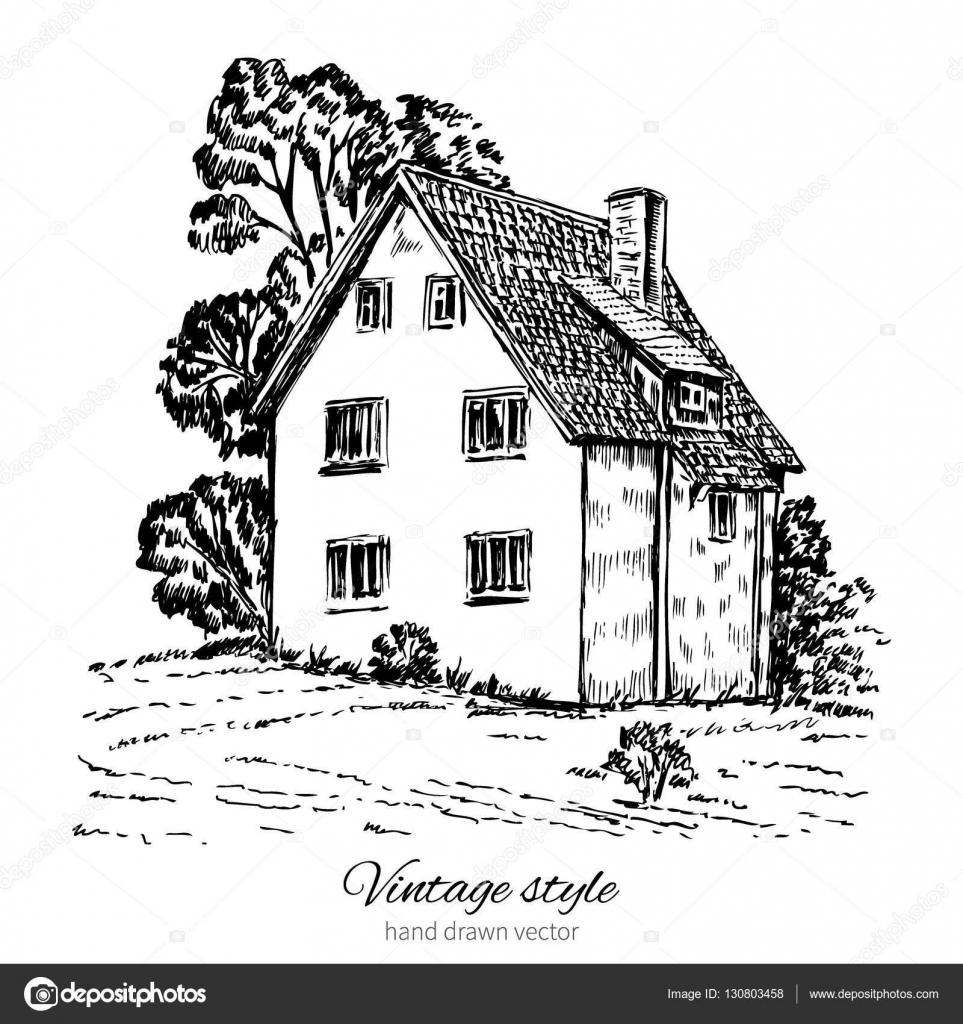 Line Art House Vector : Vintage tile old european house vector engraving sketch