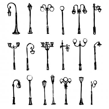 Street light hand drawn vector doodle sketch isolated on white background, Lamp posts silhouettes, ink drawing illustration, decorative vintage set brush template for design printing, element pattern
