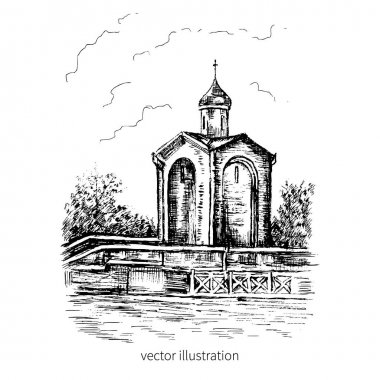 The chapel of St. George, Russia, Kaliningrad, russian landmark, Hand drawn vector ink sketch illustration isolated on white for design touristic postcard, calendar template, book illustration