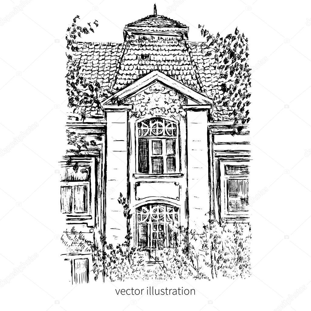 Vintage vector tile old european house, hand drawn mansion, graphic illustration, Historical building ink sketchy line art isolated, touristic postcard, poster, calendar template, book page