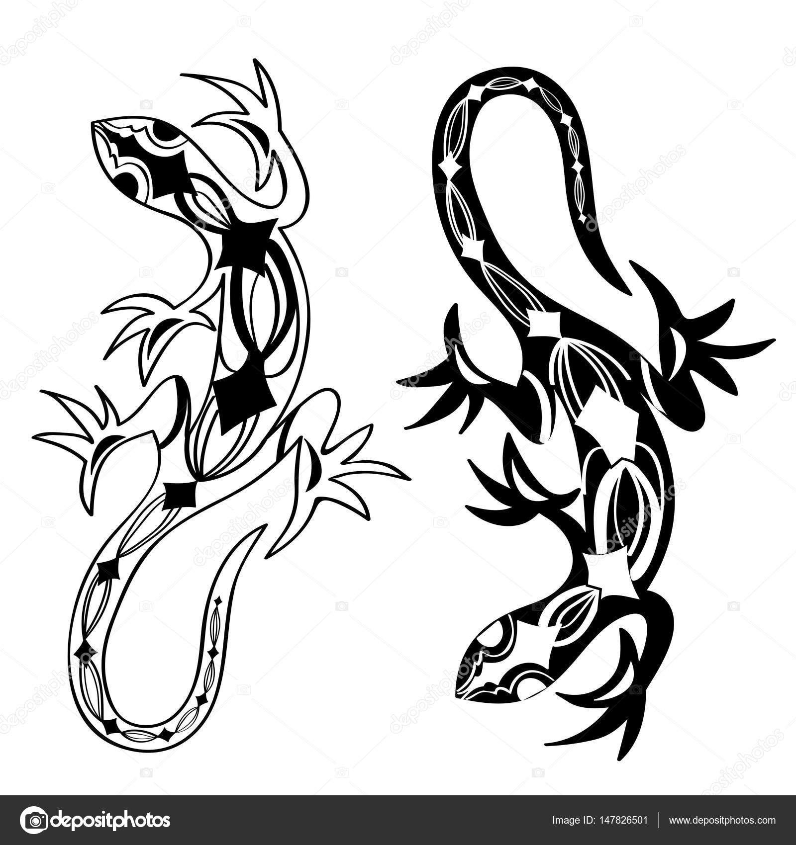 lizards reptiles with long curved tails u2014 stock vector m e l