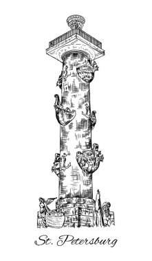 Rostral column in Saint Petersburg, St. Petersburg landmark, Russia, Vector hand drawn engraved illustration, ink sketch isolated on white background, Historical line art for touristic postcard clip art vector