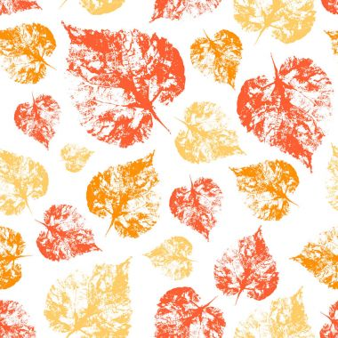 Seamless vector pattern herbal autumn texture background orange, yellow, red imprint leaves sketch isolated on whiteproject etc