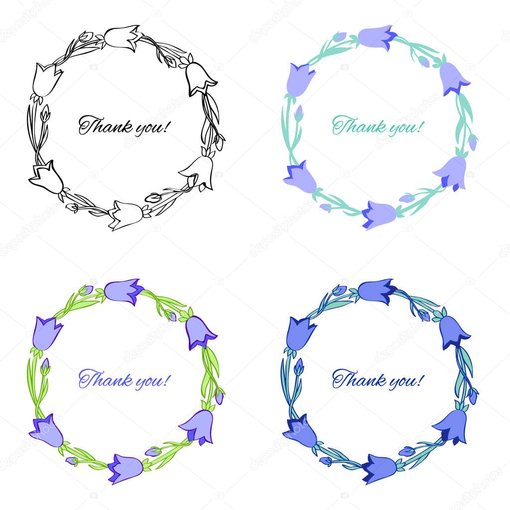Bell flower isolated on white background, hand drawn doodle wreath, Collection round frame with space for text,Vector template for design greeting card,wedding invitation,cosmetic packaging, medicine