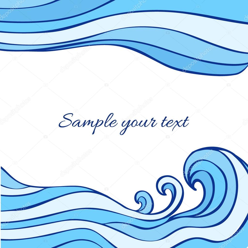 Abstract blue sea waves isolated on white background, Vector graphic illustration, decorative frame with space for text for design greeting cards, wedding invitations, travel postcard, print