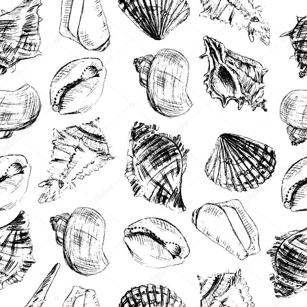 underwater marine texture with black seashells