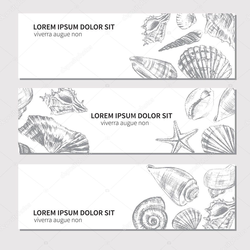 decorative banners with hand drawn seashells