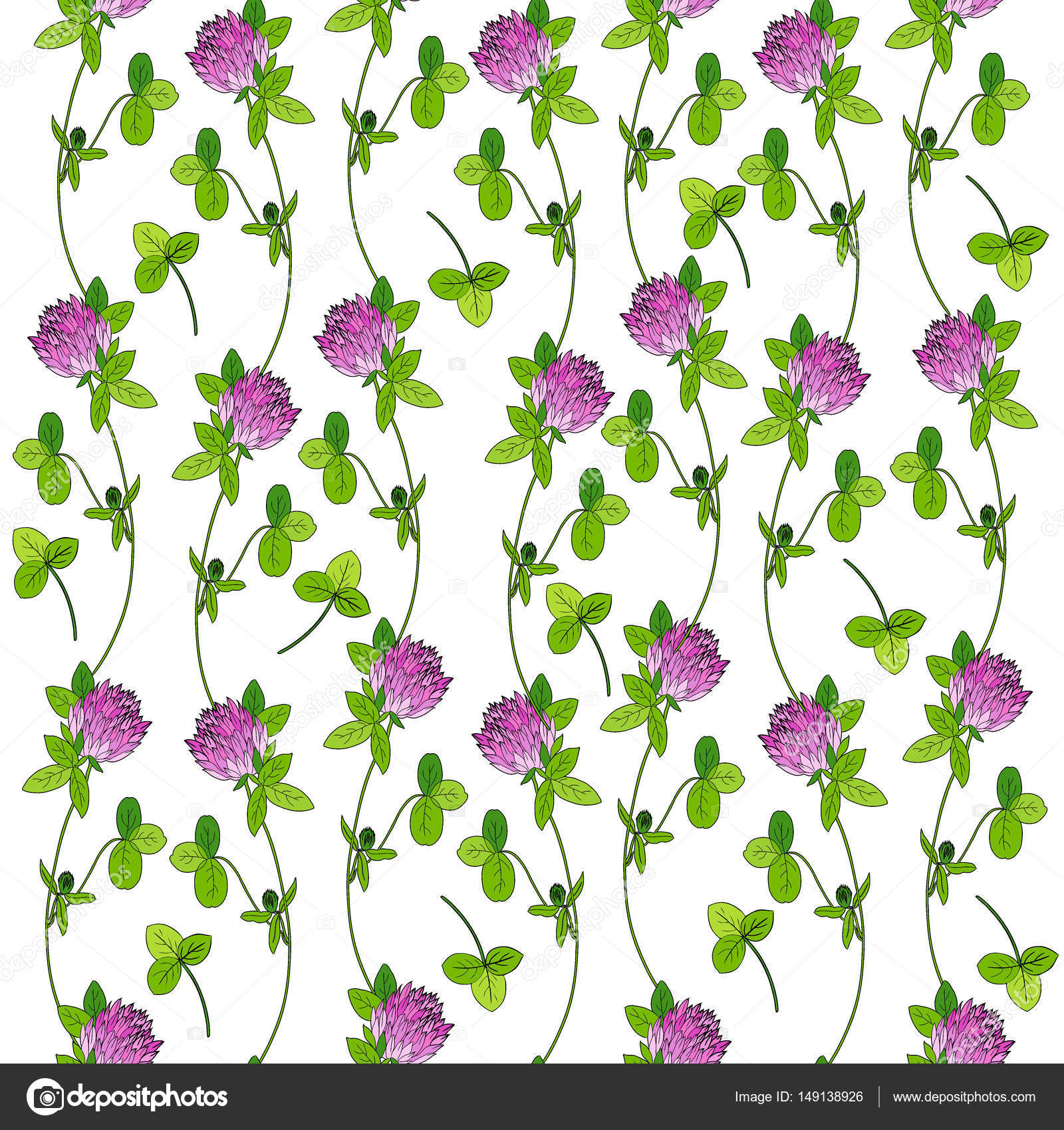 Red clover, shamrock wild field flower hand drawn vector color ...