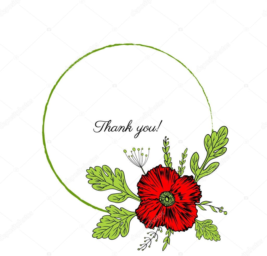 Poppy flowers wreath isolated on a white background, Round frame hand drawn doodle vector sketch herbal vintage graphic colorful collection, set for cards, invitation, wedding design, cosmetics, web