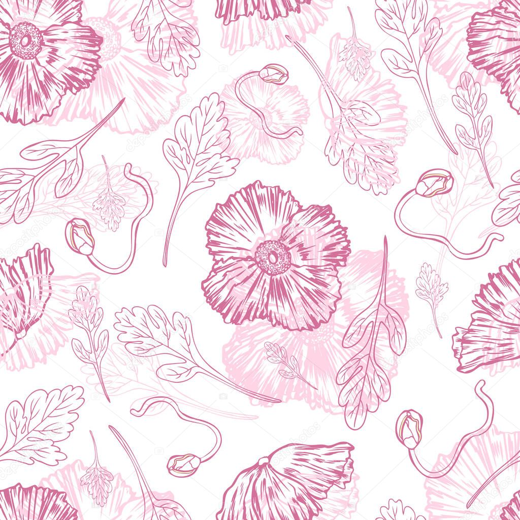 Poppy flower, bud, leaf vector engraving sketch hand drawn isolated on white, floral seamless pattern, romantic style for greeting card, package cosmetic, wedding invitations, florist shop, wallpaper