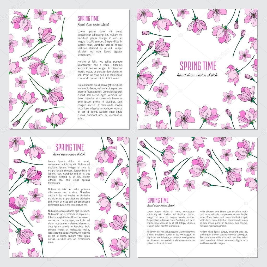 Vector pink sakura, Apple flower blossom colorful hand drawn illustration isolated on white background, decorative frames, floral border for greeting card, package design cosmetics, wedding invitation