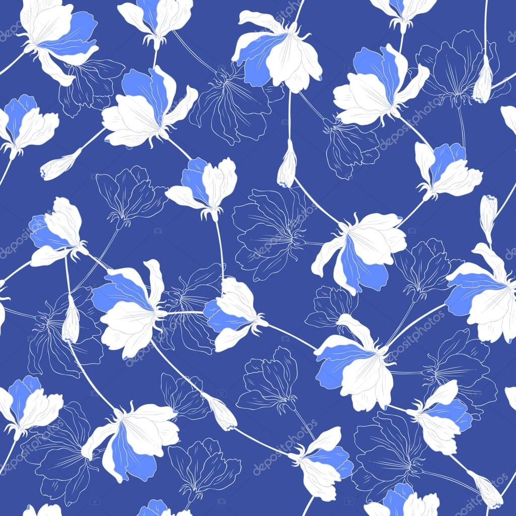 Seamless floral pattern, Blossom Apple flower hand drawn vector isolated on blue background, white sakura outline art texture for greeting card, package design cosmetic, wedding invitation, wallpaper
