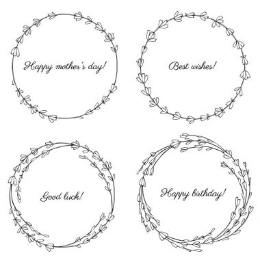 set of round lavender wreaths