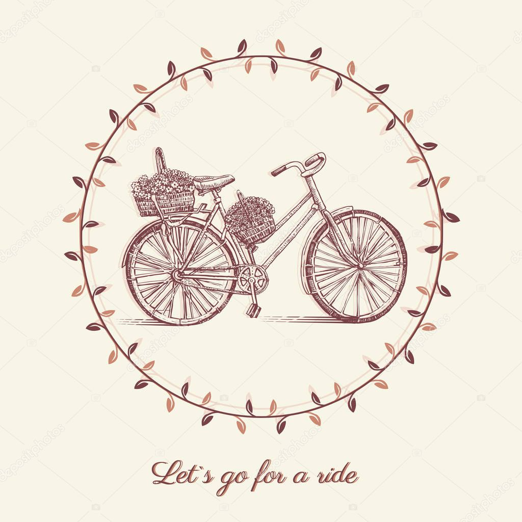 Bicycle hand drawn vector sketch, ink illustration old bike with floral basket isolated on white background, round frame, vintage decorative style for design invitation, greeting cards, advertising