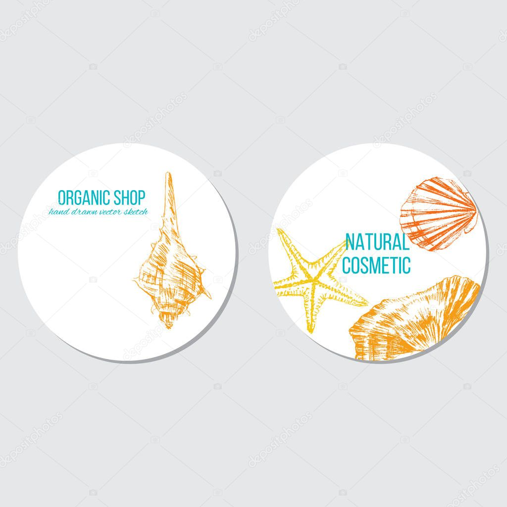 Seashells hand drawn vector color sketch isolated on white background, round frame, underwater decorative marine sticker, template label layout design for card, beauty salon, cosmetic, restaurant menu