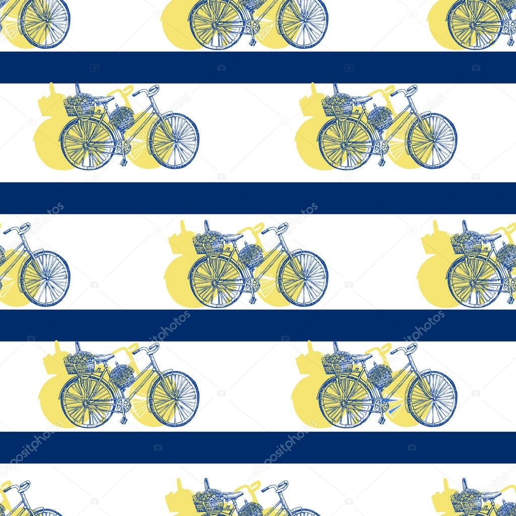 Seamless pattern, Bicycle hand drawn vector sketch, ink illustration old bike with floral basket, yellow silhouette, blue stripes isolated on white background, vintage texture for design textile