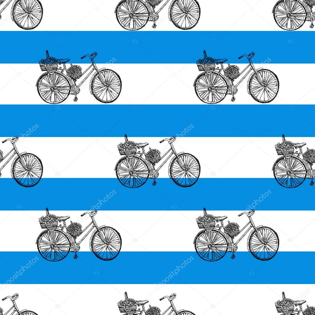 Seamless pattern, Bicycle hand drawn vector sketch, ink illustration old bike with floral basket on blue stripes isolated on white background, vintage texture for design invitation, greeting card