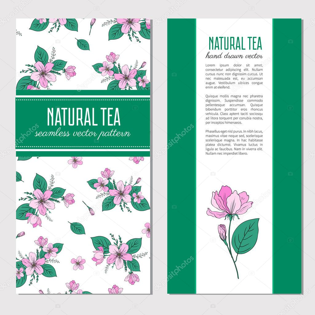 Apple flower blossoming hand drawn isolated on white background, seamless vector floral pattern, decorative sakura for greeting card, package design cosmetic,natural tea, wedding invitation, menu
