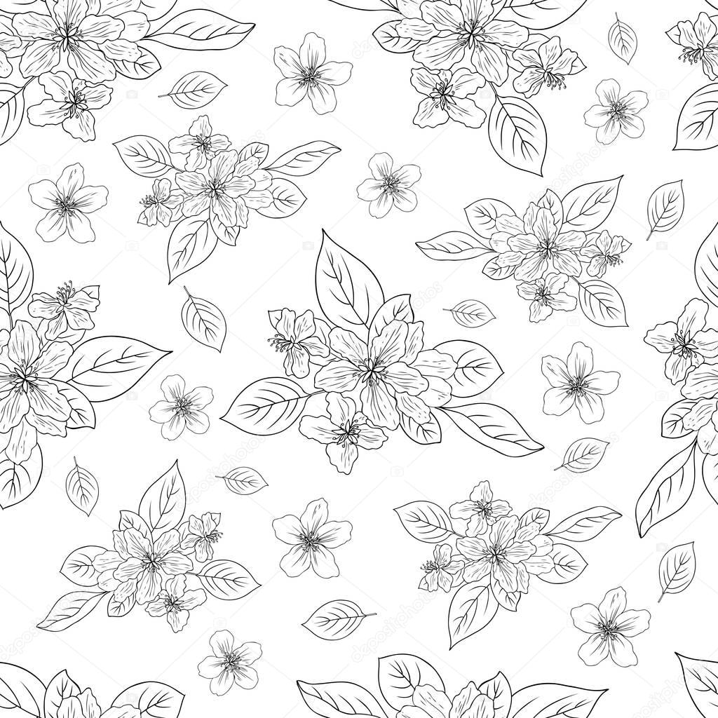 Apple flower blossom hand drawn isolated on white background, seamless vector floral pattern, pink sakura outline art for greeting card, package design cosmetic, wedding invitation, wallpaper beauty