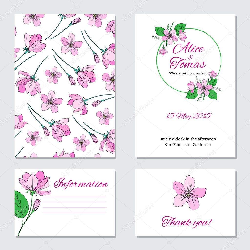 Apple flower, leaf hand drawn isolated on white background, seamless vector floral pattern, pink sakura line art texture , decorative frame, design greeting card, wedding invitation, package cosmetic