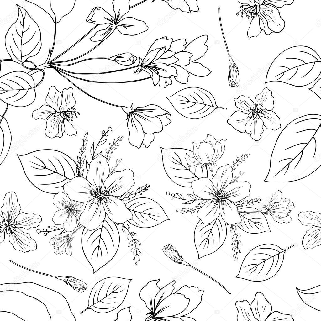 Apple flowers tree blossom, bud, leaf, branch botanical sketch hand drawn isolated on white, seamless vector floral pattern for greeting card, package design cosmetic, wedding invitation, wallpaper