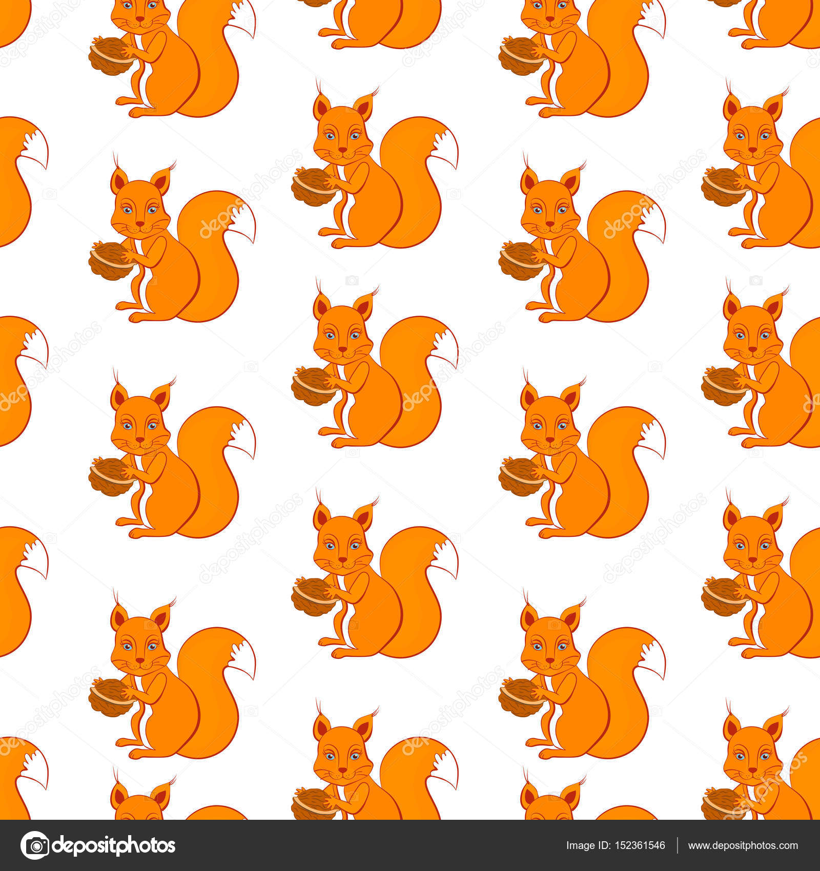 Cute Cartoon Squirrel With Walnut In Paws Sitting On Colorful Background Seamless Vector Pattern Set
