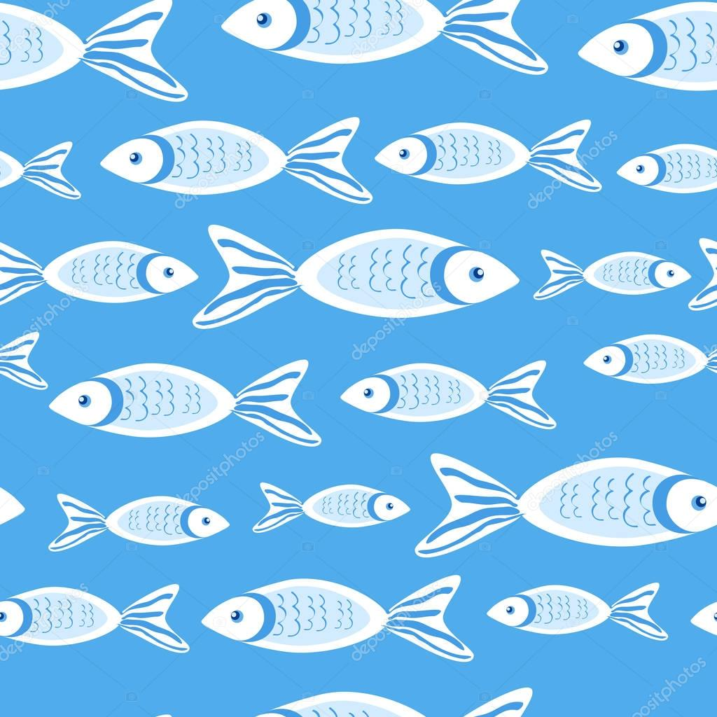 Marine seamless vector pattern cartoon cute swimming fish colorful illustration isolated on blue background, summer decorative texture, design for wallpaper, sea backdrop, textile, wrapping paper