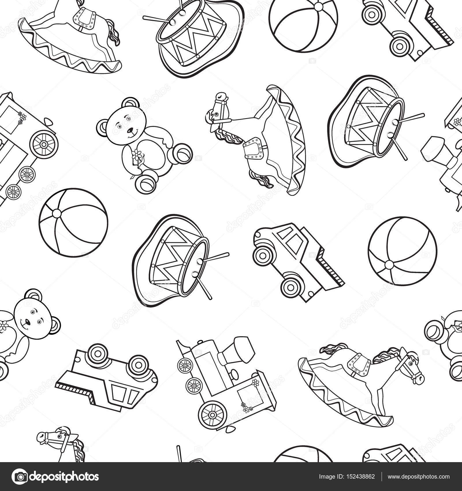 baby speelgoed tekeningen auto paard bal trein