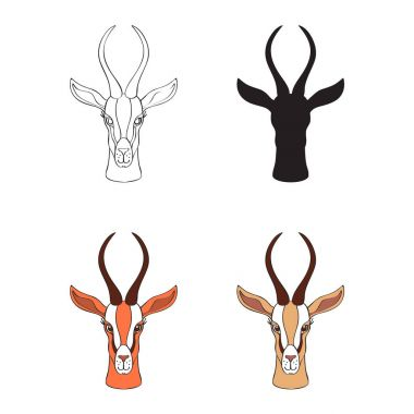 Decorative Gazelle graphic hand drawn vector cartoon doodle animal illustration, African safari antelope with curved horns isolated on white, Character design for greeting card, logo icon, baby shower