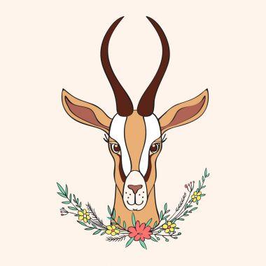 Decorative Gazelle hand drawn vector cartoon doodle colorful ani