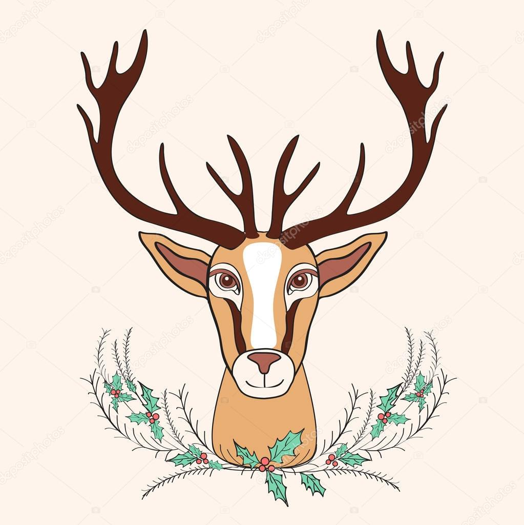 Holiday deer graphic hand drawn vector cartoon doodle illustration with bouquet holly, wild animal with curved horns isolated mascot head, Character design for greeting card, logo, baby shower