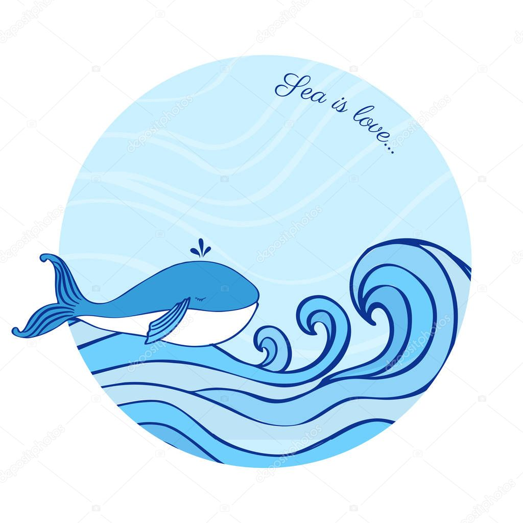 Whale cartoon illustration isolated on blue wave background, vector colorful doodle animal, round frame, Character design for greeting card, children invitation, baby shower, creation of alphabet