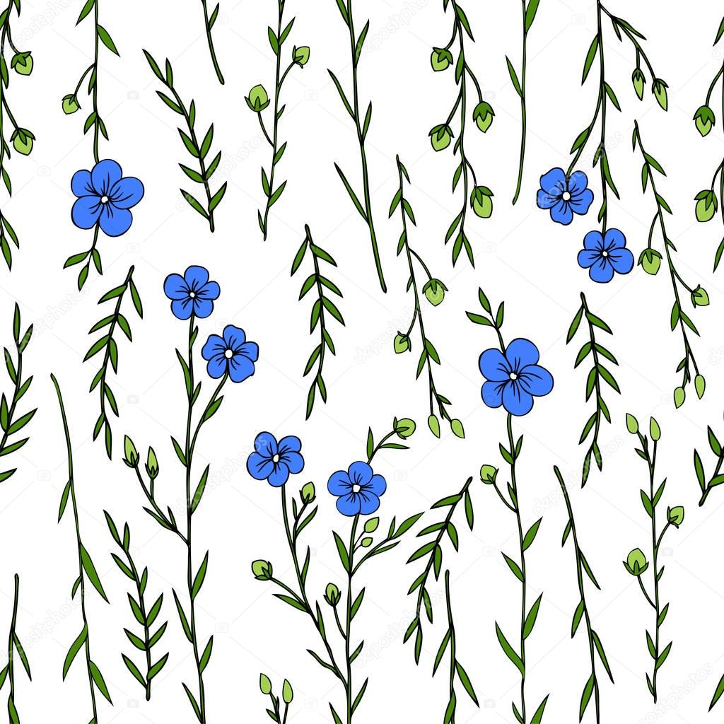 Seamless floral pattern, Flax plant, wild field flower isolated on white background, hand drawn sketch vector doodle illustration, texture for design package cosmetic, natural medicine, greeting card