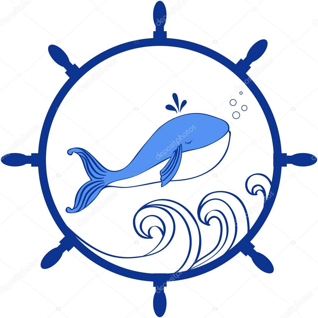 Blue Whale, wave cartoon illustration isolated on white background, vector doodle animal, round frame wheel, Character design for greeting card, children invitation, baby shower, advertising travel