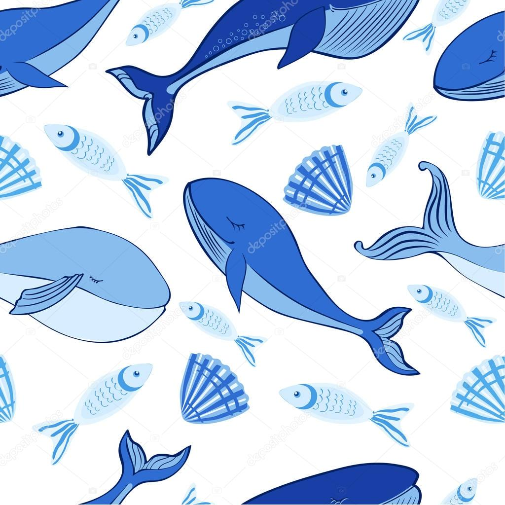 Seamless vector pattern, Sleep Blue Whale cute cartoon illustration isolated on white background, doodle animal, decorative texture, Character design for greeting card, children invite, baby shower