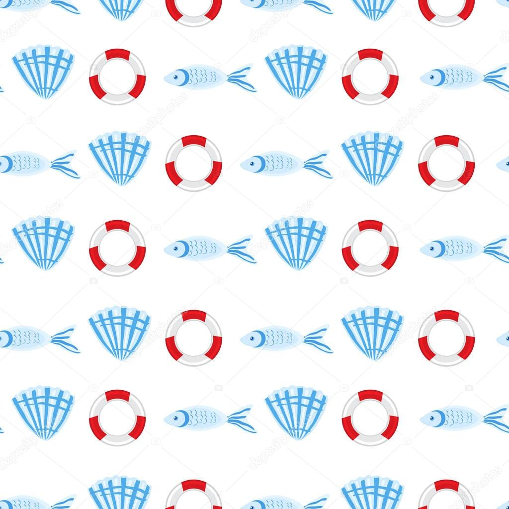 Marine seamless vector pattern cartoon lifeline, swimming fish, seashell illustration isolated on white background, summer decorative texture, design wallpaper, sea backdrop, textile, wrapping paper