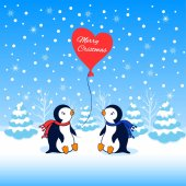 Photo Cartoon Penguin sitting on snow among tree in winter, look for red balloon, one penguin is holding the ball, falls the snow, Character design for Christmas, New Year greeting card, Vector illustration