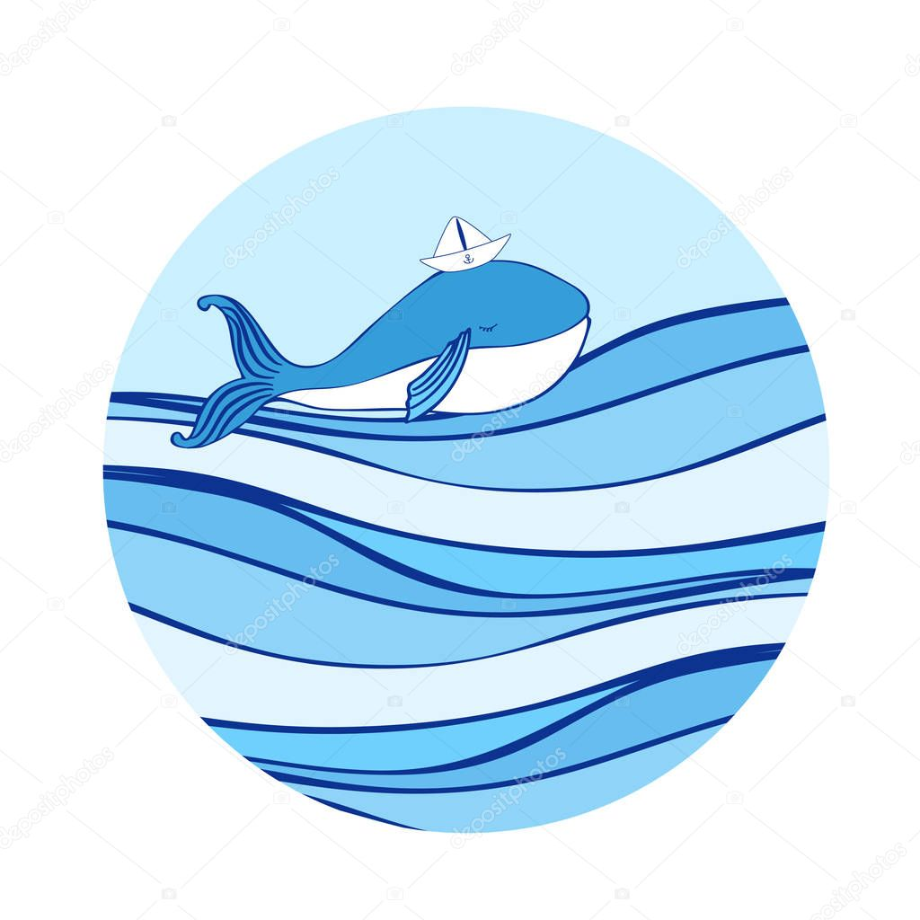 Blue Whale with paper boat on head cartoon illustration isolated on wave background, vector colorful doodle animal, round frame, Character design for greeting card, children invitation, baby shower