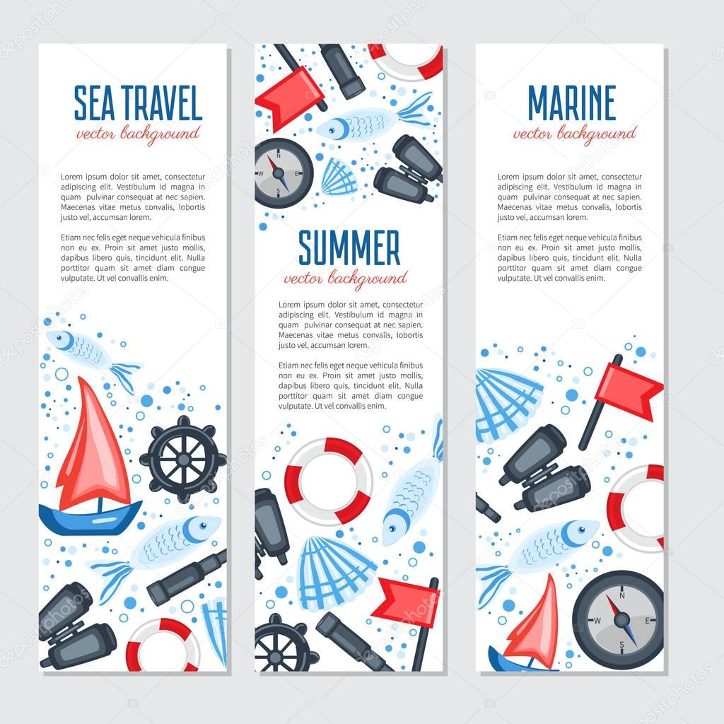 Vertical marine vector banner, cartoon illustration, Red flag, s