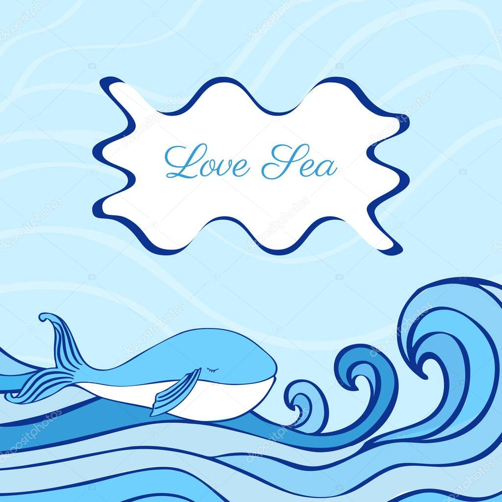 Blue Whale cartoon illustration isolated on decorative wave background, vector graphic colorful doodle animal, Character design for greeting card, children invite, baby shower, creation of alphabet