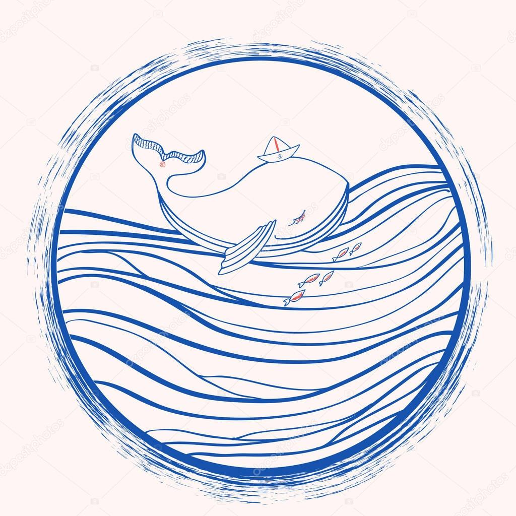 Whale cartoon illustration isolated on light wave background, vector colorful doodle animal, round frame line art, Character design for greeting card, children invitation, baby shower, travel postcard