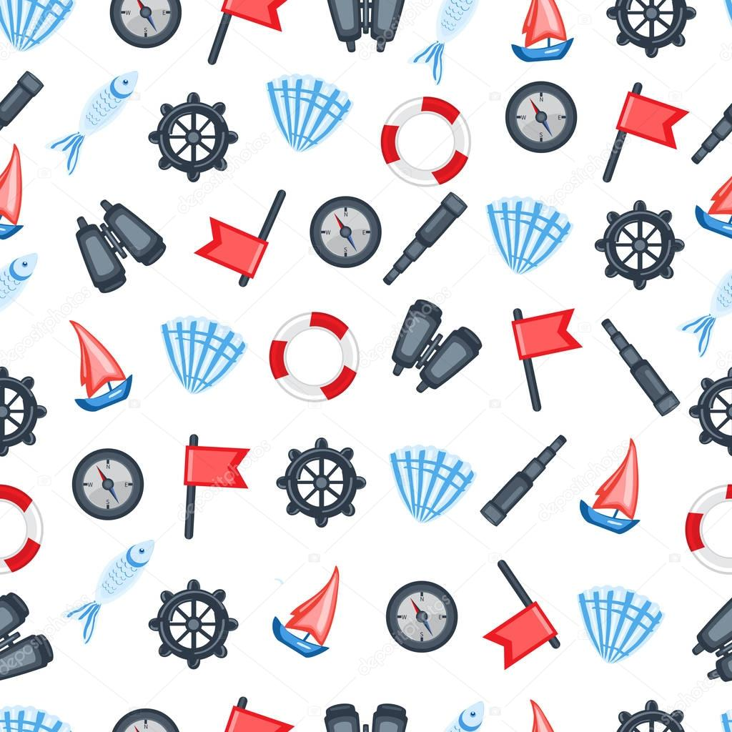 Red flag, steering wheel, compass, ship, seashell, fish, binoculars, spyglass isolated on white background, Marine seamless vector pattern, design for wallpaper, decorative texture, sea backdrop