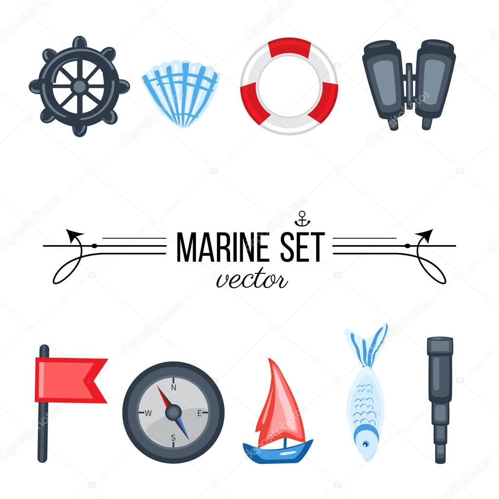 Marine set red flag, steering wheel, compass, ship, seashell, fish, binoculars, spyglass isolated on white background, decorative vector sea colorful elements for design advertising, greeting card