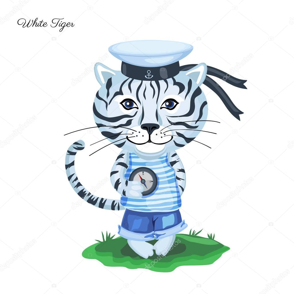 White Tiger sailor in cap with compass on green grass isolated o