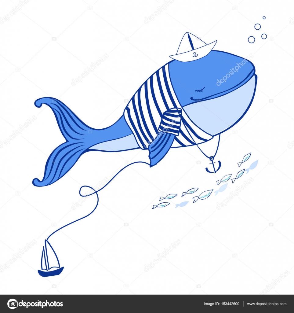 Ballena azul en chaqueta chaleco con barco de papel y la ilustración ...